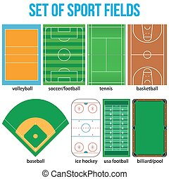放置, fields., 样品, 大多数, 流行, 运动