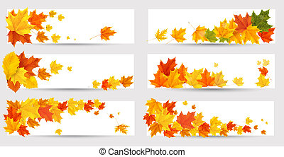 放置, school., 色彩丰富, 往回, leaves., 秋季, 矢量, 旗帜, illustration.