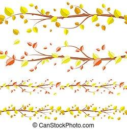 放置, seamless, 秋季, 设计, 植物群, 边界, 你