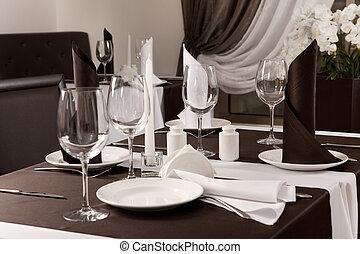 放置, the, 桌子, 在, 餐館