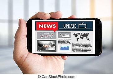 放送, 更新, 見出し, 新しい, コミュニケーション, 話し, 媒体, 生きている