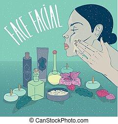 放, 伪装, 脸, 皮肤, 女孩, 奶油, 或者, 关心
