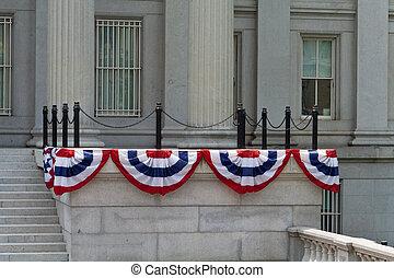 政府の 建物, 飾られる, 7月4日, ワシントン