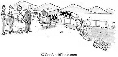 政府, 課税, そして, 出費