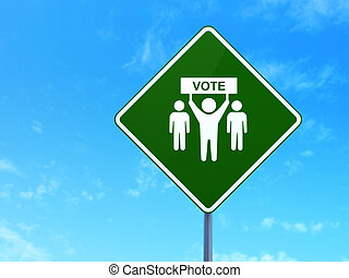 政治的である, キャンペーン, 印, 道, 背景, 選挙, concept: