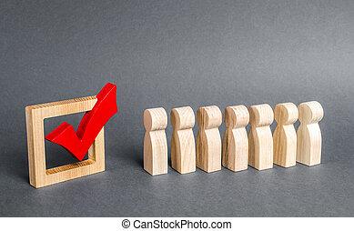 政治的である, キャンペーン, candidates., poll., 投票, 選挙, ボランティア, voting., 社会, day., カチカチいいなさい, パーティー, 赤, 人々, elections., 線, 列, concept., technologies., 民主的, referendum