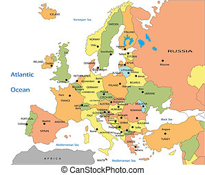 政治的である, 地図, の, ヨーロッパ