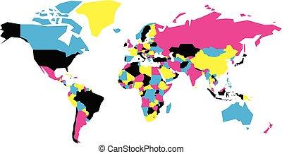 政治的である, 地図, の, world., 簡単にされている, ベクトル, 地図, 中に, cmyk, 色