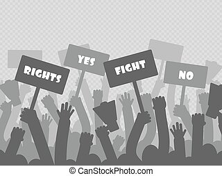 政治的である, 抗議, ∥で∥, シルエット, protesters, 手, 保有物, メガホン