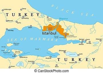 政治的である, 海峡, bosporus, 地図, bosphorus, イスタンブール, ∥あるいは∥