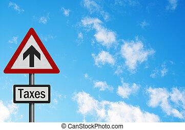 政治的である, issue:, \'sky, 高く, 税, increases\', concept., 写真,...