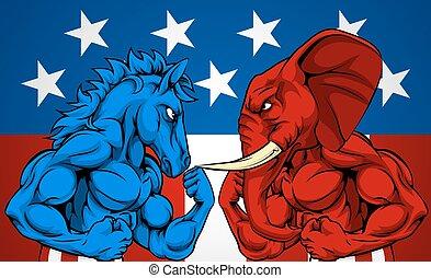 政治, アメリカ人, 選挙, 概念, ろば, ∥対∥, 象