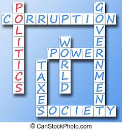 政治, 上に, クロスワードパズル