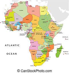 政治, 地图, 在中, 非洲