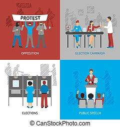 政治, 概念, セット, アイコン