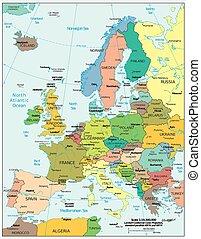 政治, 歐洲, 地圖