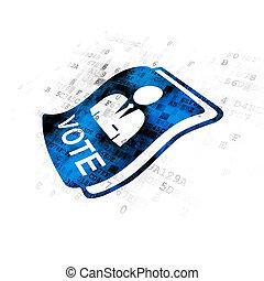 政治, concept:, 投票, 上に, デジタルバックグラウンド
