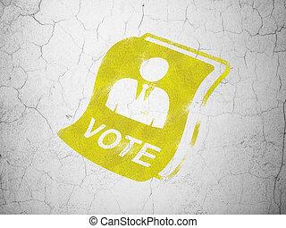 政治, concept:, 投票, 上に, 壁, 背景