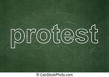政治, concept:, 抗議, 上に, 黒板, 背景