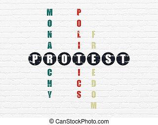 政治, concept:, 抗議, 中に, クロスワード・パズル
