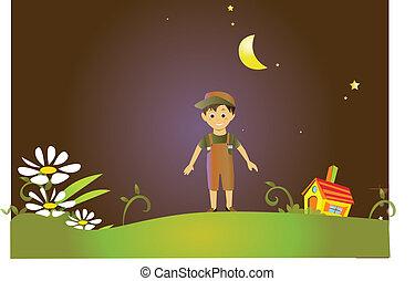 故事, 男孩, 仙女, 陸地, 年輕