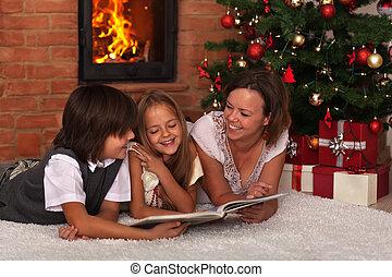 故事, 閱讀, 聖誕節, 家庭時間