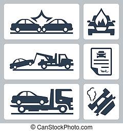 故障, 事故, アイコン, 自動車, ベクトル, セット, トラック
