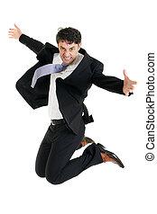 敏捷, ビジネスマン, 跳躍, 空気