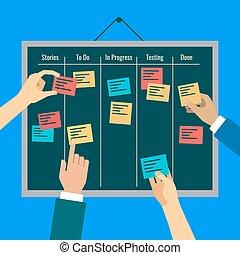 敏捷, 管理, 幫助, 有效, 任務, 板, 到達
