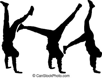 敏捷, handstand., シルエット, 人, 若い