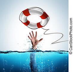 救出, 助け, -, 概念, lifebelt