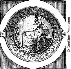 救助, minerva, くぼみ, 数字, 高く, カップ, engraving., hildesheim, 型, 宝物