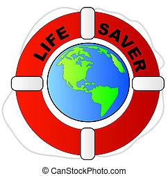 救命具, 保護, 世界的である, -, 包囲, 概念, 地球