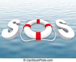 救命具, -, 表面, 水, sos
