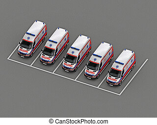 救急車, グループ, 駐車
