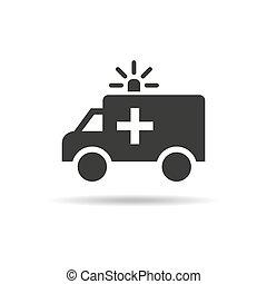 救护车, 白色, 背景。, 图标