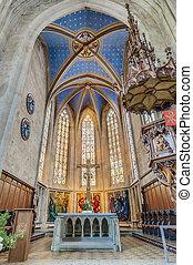 教会, の, 私達の, 女性, 中に, esslingen, 午前, neckar, ドイツ