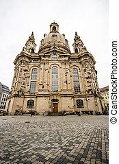 教会, の, 私達の, 女性, (frauenkirche), 中に, ドレスデン, ドイツ