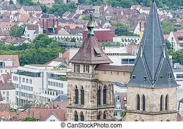 教会, の, 聖者, dionysius, 中に, esslingen, 午前, neckar, ドイツ