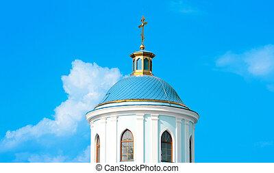 教会, わずかしか, 空, 白, 青