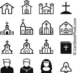 教会, セット, アイコン