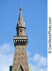 教会, タワー, croce, バシリカ, santa, franciscan, イタリア, 鐘, cross), -, (basilica, 有名, 神聖, フィレンツェ