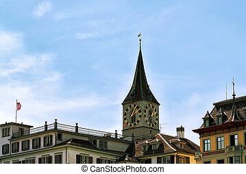 教会, チューリッヒ, ピーター, st., 時計