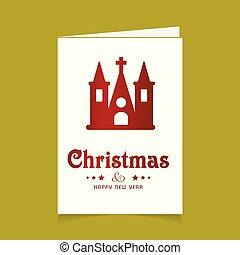 教会, デザイン, クリスマスカード