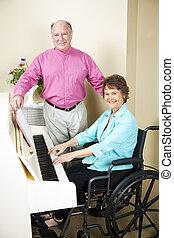 教会, ピアニスト, 中に, 車椅子