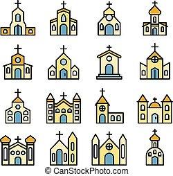 教会, ベクトル, アイコン, 平ら