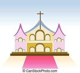 教会, ベクトル, イラスト, 印