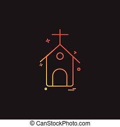 教会, ベクトル, デザイン, アイコン