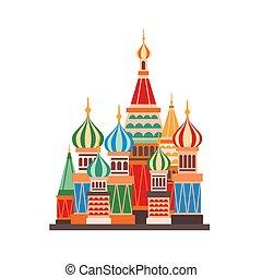 教会, ベクトル, 隔離された, モスクワ, 建築, 白, バックグラウンド。, メボウキ, 有名, 目立つ, 大聖堂, 漫画, 建物。, 正統, illustration., 平ら, ロシア人, ランドマーク, 多色刷り, domes., 聖者