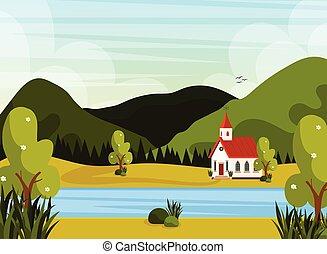 教会, ポスター, 風景, 川